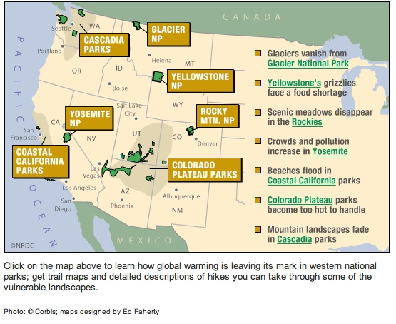 National Parks In Peril From Climate Change DestiCorp - Map western us national parks